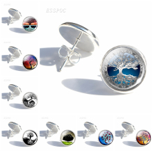 Tree of Life Simple Style Stud Earrings Women Fashion Silver Glass Cabochon Earings DIY Paintings Art Jewelry Gifts