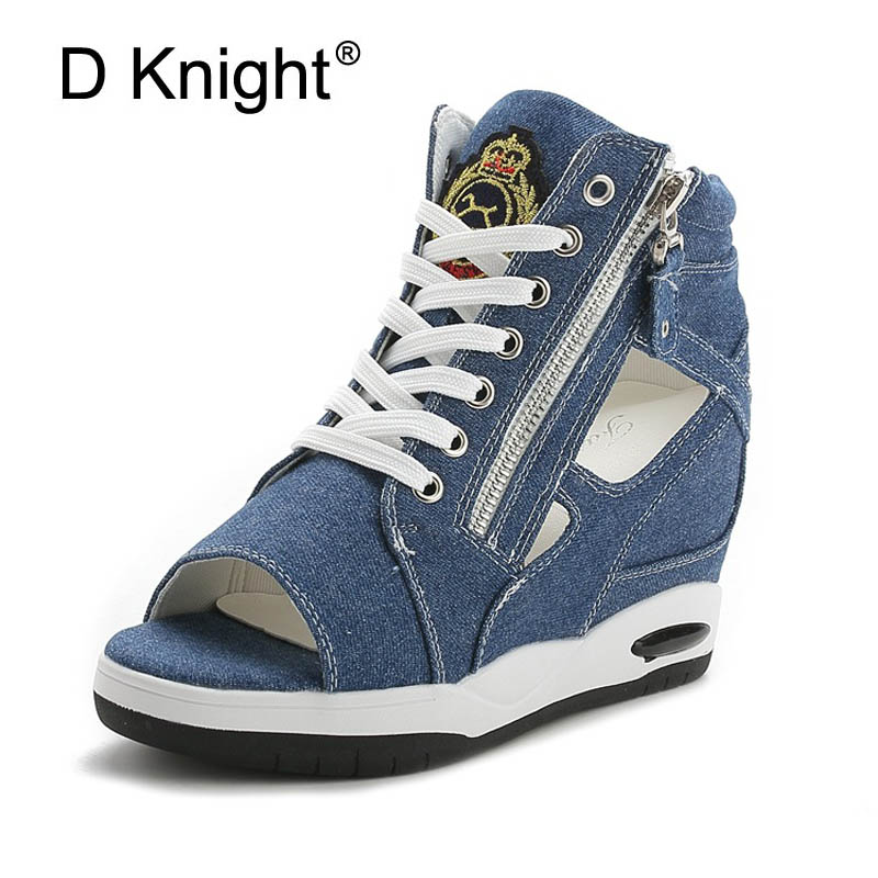 Women Peep Toe Sandals Summer Platform Wedge Invisible High Heels Boots Rome Style Side Zip Casual Shoes Woman Silver Blue White nayiduyun women casual shoes low top platform wedge high heels boots round toe slip on pumps punk chic shoes black white sneaker