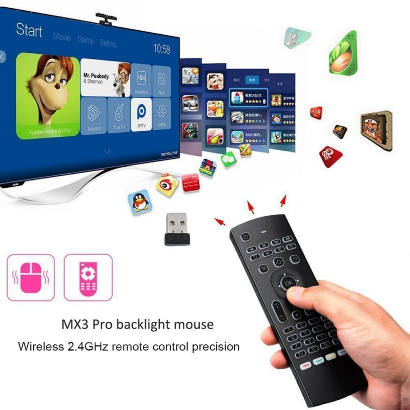 лучшая цена 2.4G Remote Control IR MX3-L Air Mouse Backlight Wireless Keyboard Learning Fly Air Mouse Backlit For Android TV Box PC