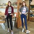 FINEWORDS 2017 El Más Nuevo Diseño de Las Mujeres de Cintura Alta Jeans Negro Azul Gris Jeans Ajustados 4xl Más El Tamaño Elástico Del Estiramiento Pantalones de Mezclilla