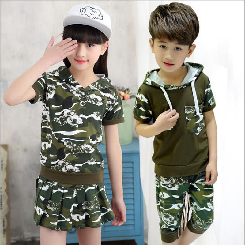 kids hooded sets baby boys shorts t shirt+pants 1 set baby girls clothes 4-15 Y kids summer outwear casual camouflage clothes