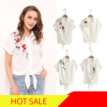 2018 Top Summer Women Casual Tops Short Sleeve Embroidery White Top Blouses Shirts Sexy Kimono Loose Beach Shirt Blusas Feminina
