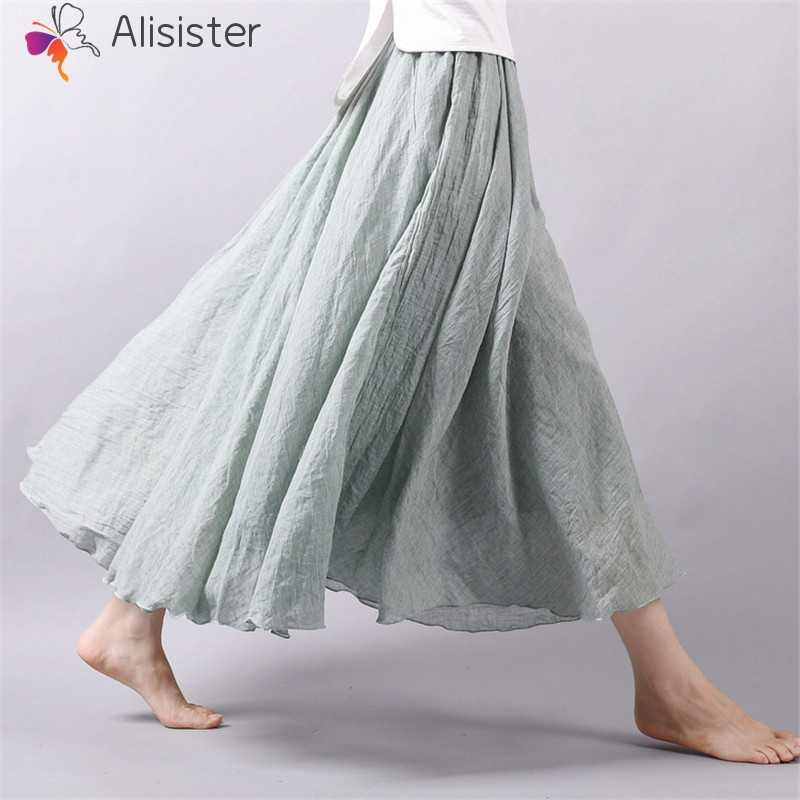 7d35dea5f 2019 Autumn Summer Long Skirts Women Cotton Linen Solid Pleated Maxi Skirts  Elegant Boho Vintage Beach