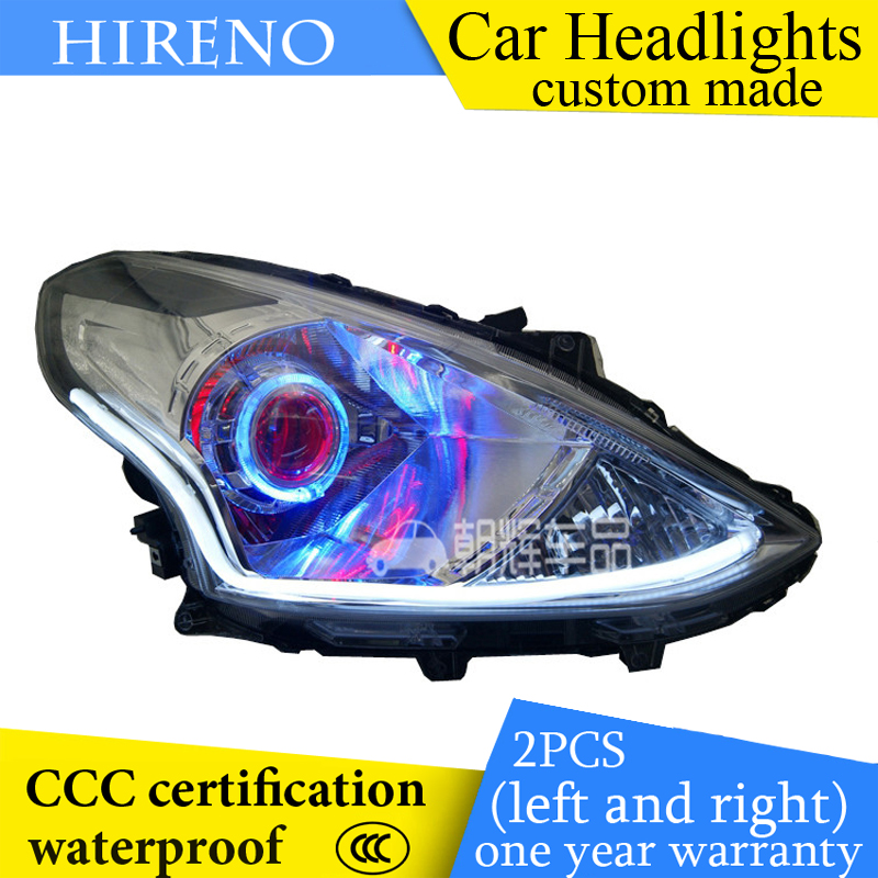 Hireno custom Modified Headlamp for Nissan Almera Versa 2014-16 Headlight Assembly Car styling Angel Lens Beam HID Xenon 2 pcs hireno headlamp for cadillac xt5 2016 2018 headlight headlight assembly led drl angel lens double beam hid xenon 2pcs