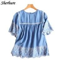 2018 Summer Women Shirts Embroidery O Neck Short Sleeve Denim Shirts Irregular Femme Blouse Blusa Loose