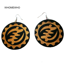 2019 Wood Africa Traditional Engraved Totem Sunflower Round Tribal Vintage Drop Earrings Wooden African Bohemia Afro Ear Jewelry