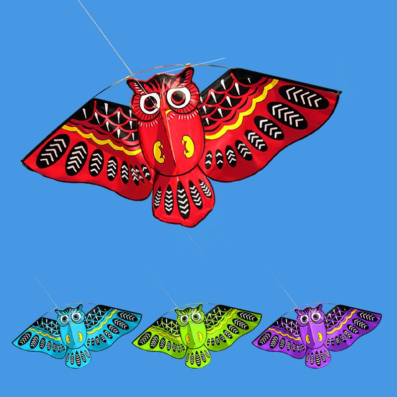 Owl Ainimal Kite Single Line Bird Kite Outdoor Fun Sports Easy To Fly For Kids With Flying Line 4 Colors