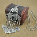 2016 Fashion Gypsy Bohemian Boho Jewelry Antique Silver Tassels Long Carving Coins Necklace For Women Fine Jewelry
