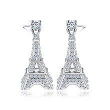 Danki Pure Fashion 925 Joyería de Plata Esterlina Mujeres Stud Pendientes Accesorio Encantador Torre Eiffel Lindo Pendientes de la Muchacha Ornamento