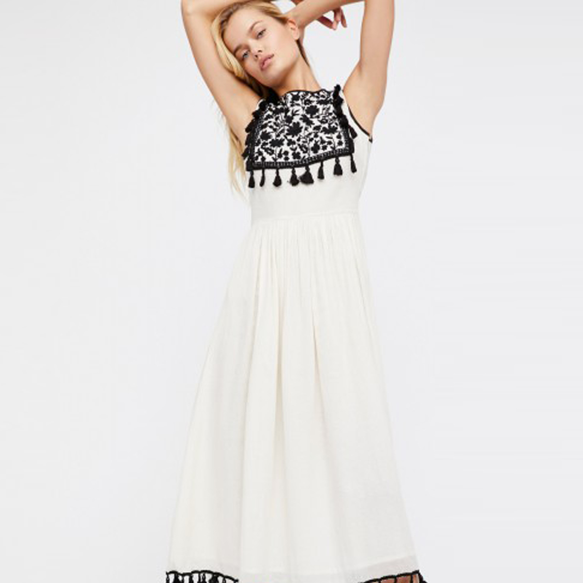 Tassel Trim Embroidered Maxi Dress