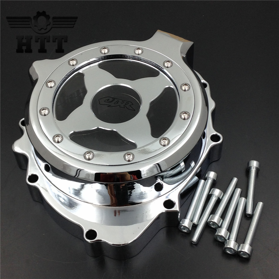 Aftermarket free shipping motorcycle part Engine Stator cover see through for Honda CBR600RR 2003 2004 2005 2006 left side CHR aftermarket free shipping motorcycle parts engine stator cover for honda cbr1000rr 2004 2005 2006 2007 left side chrome