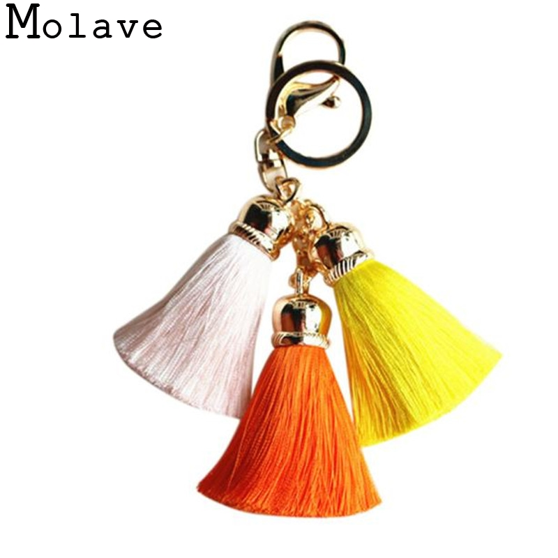 2017 New Fashion Design Mixed Colors Ice Silk Tassel Pompom Car Keychain Handbag Key Ring Car