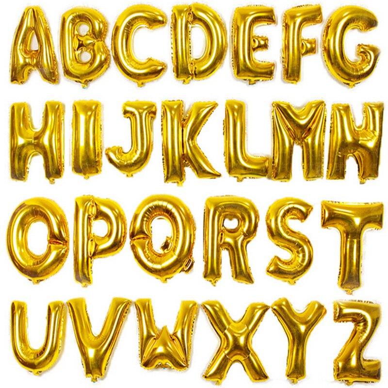 16 дюймов Желтый AZ письмо много алюминия баллон день рождения фестиваль свадебные украшения игрушки воздушный шар оптовая