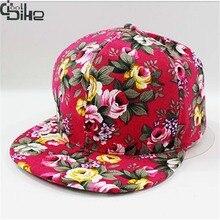 New 2017 Floral Printing Women's Snapback Caps Nice Baseball Cap Hip Hop Flat Hats Fashion gorras mujer Cap With Straight Visor
