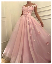 LORIE Pink Evening Dress Party Gowns Robe De Soiree Formal Prom Dresses Plunging 3D Flowers Beading Top