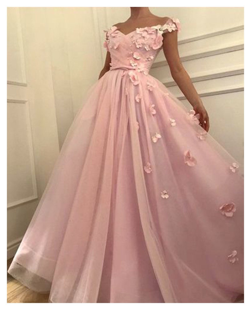 LORIE Pink   Evening     Dress   Party Gowns Robe De Soiree Formal Prom   Dresses   Plunging 3D Flowers Beading Top   Evening   Gowns