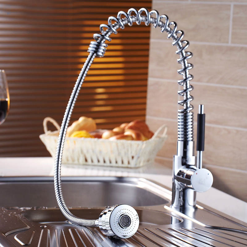 Free Shipping Chrome Pull Out And Down Swivel Kitchen Mixer Vessel Sink Faucet Mixer Tap Cold Hot Water Tap Wholesale 2130361 new led pull out kitchen vessel sink faucet tap mixer