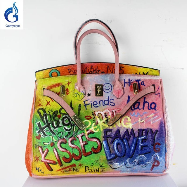 2018 Hot bags handbags women famous brands Genuine Leather Handbag Women Messenger Bags Hand Painted Custom name Design totes