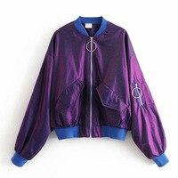 FIRSTTO Retro Baseball Bomber Pilots Stand Collar Purple Jacket Ring Zipper Bat Sleeve Coat Fashion Women Loose Outerwear Tops