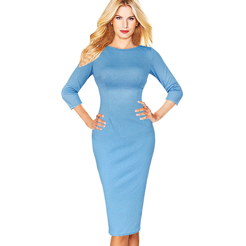 Baby blue pencil dresses