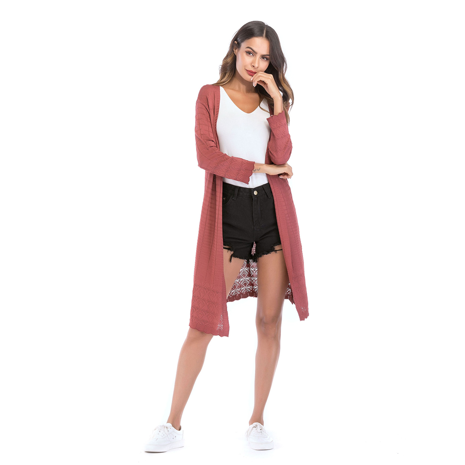 Casual Women Plaid Loose Coat Female Hook Flower Long Knit Sweater ... 5265064ff