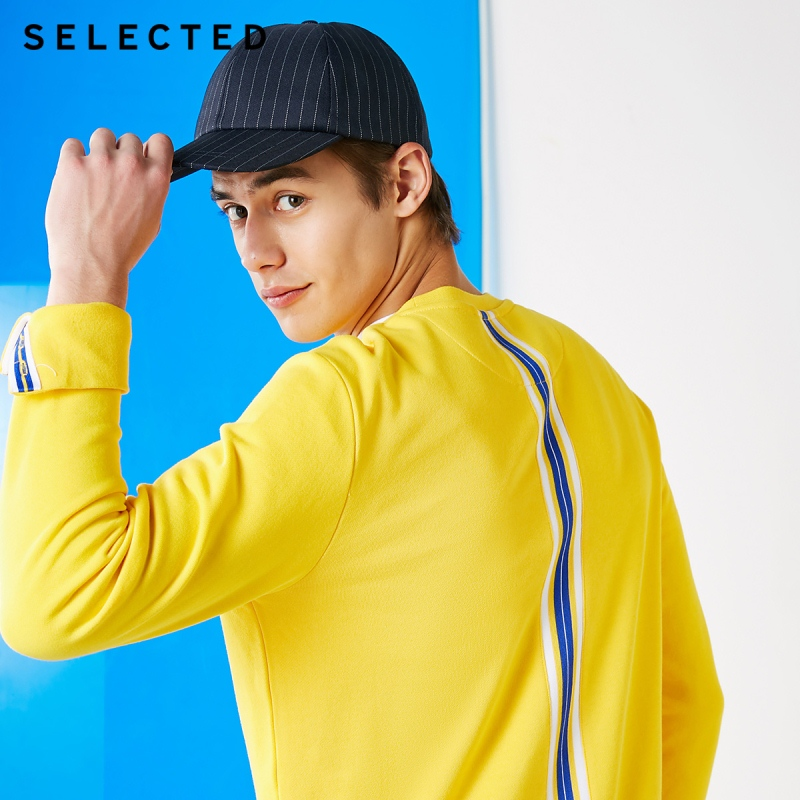 SELECTED 100% Cotton Round Neckline Pullover Hoodies Men's Contrasting Splice Knitted Sweatshirt Clothes S | 41844D529