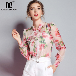 Lady Milan New Arrival 2019 Spring Women's Bow Collar Long Sleeves Floral Printed Elegant 100% Silk Runway Designer Shirts