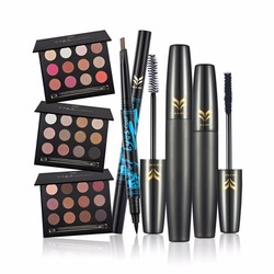 Huamianli eyeshadow + mascara + eyebrow and eyeliner double-end pencil make up set Pearl eye shadow 3pcs/set makeup set