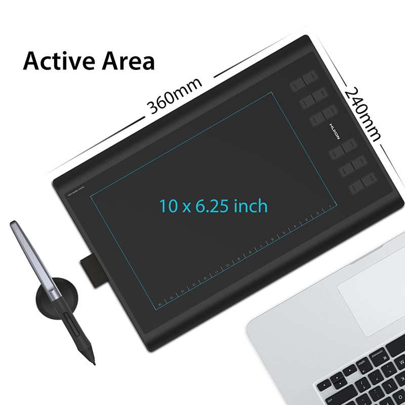 US $89 99 30% OFF|HUION H1060P Graphic Drawing Tablet Battery free Stylus  Tilt Support Digital Tablet with 8192 Pen Pressure 12 Express Keys-in