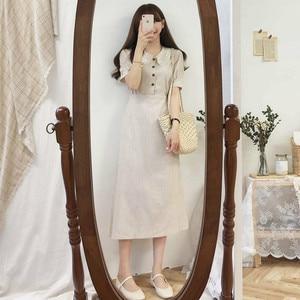 Image 4 - Đầm Vintage Hot Bán Hàng Người Phụ Nữ Mùa Hè Dễ Thương Ngọt Nhật Bản Hàn Quốc Cách học Peter Pan có Cổ Áo Sơ Mi Nút Áo Retro 6918