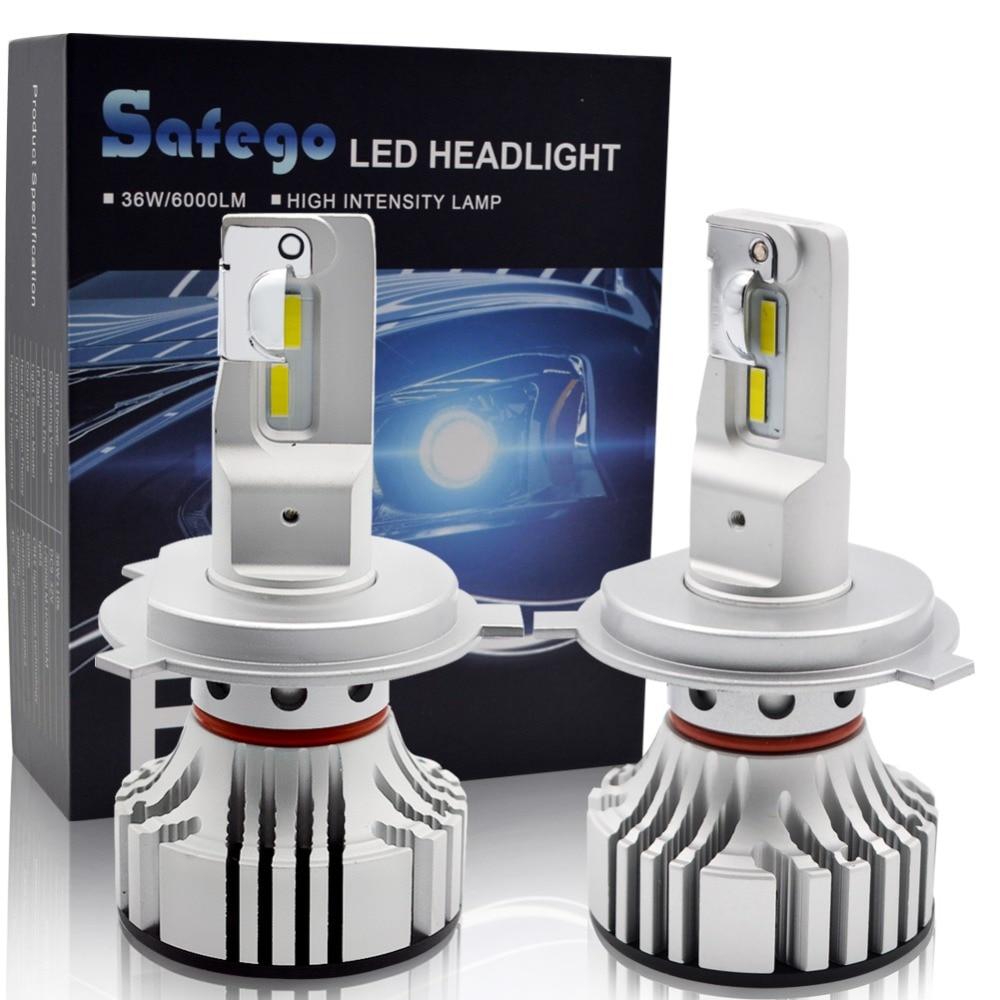Safego 36W H4 Hi/Lo Car LED Headlight Kit Bulbs H7 H8 H9 H11 9005 9006 4 Super Bright LED Chips 6000Lm Auto Bulb White