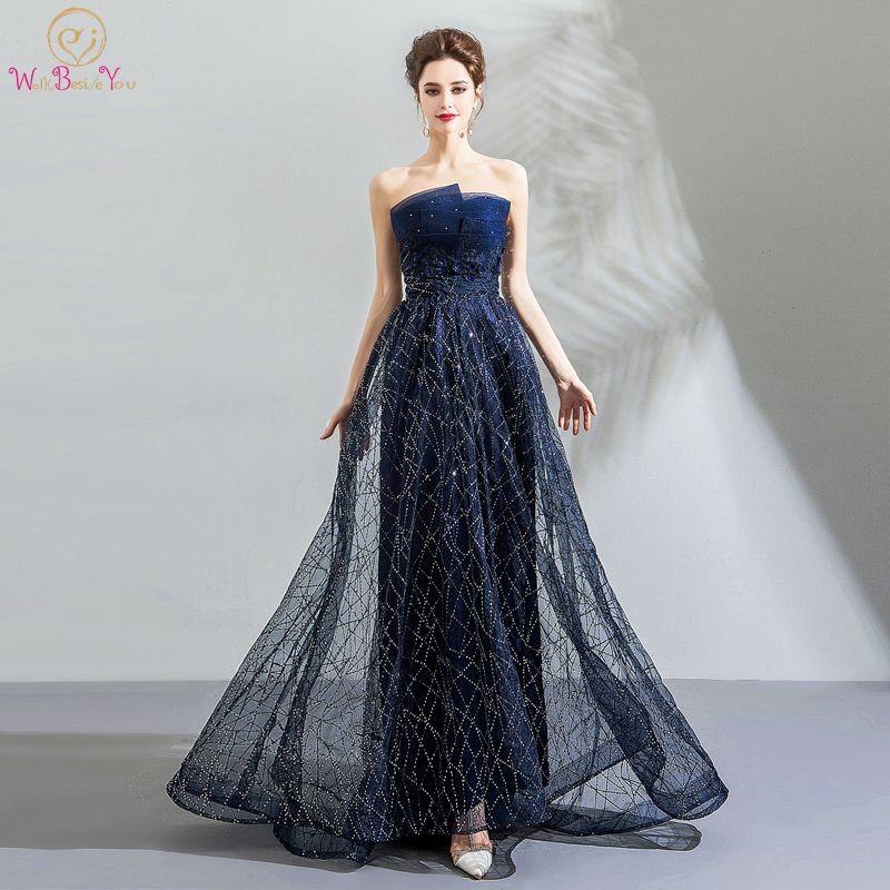 Walk Beside You Robe Soiree Longue Femme 2018 Evening Dresses Navy ...