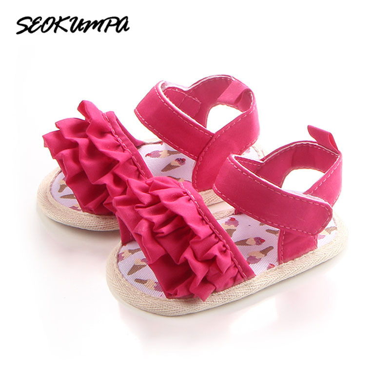 2018 New Summer Infant Shoes Cute Lace Tartan First Walkers Flower Breathable Non-slip Soft Bottom Princesses Newborn Shoes