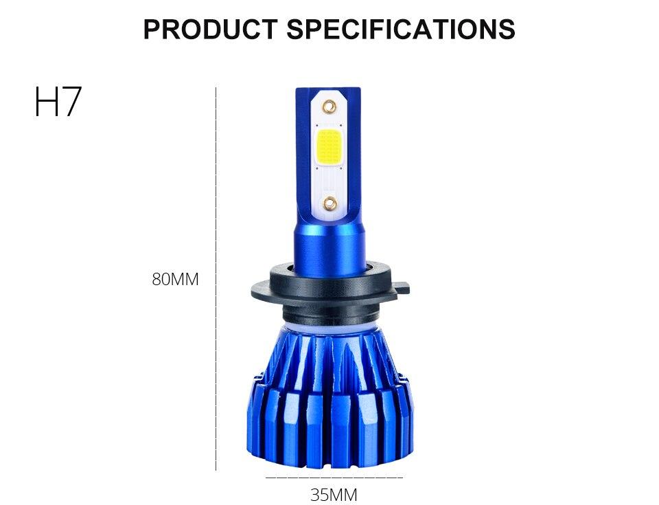 Aceersun 2Pcs 9005 HB3 9006 HB4 H11 H4 H7 Led H1 Auto Car Headlight 72W 8000LM 6500K Automobile Bulb COB CHIP 4300k H3 Fanless (9)
