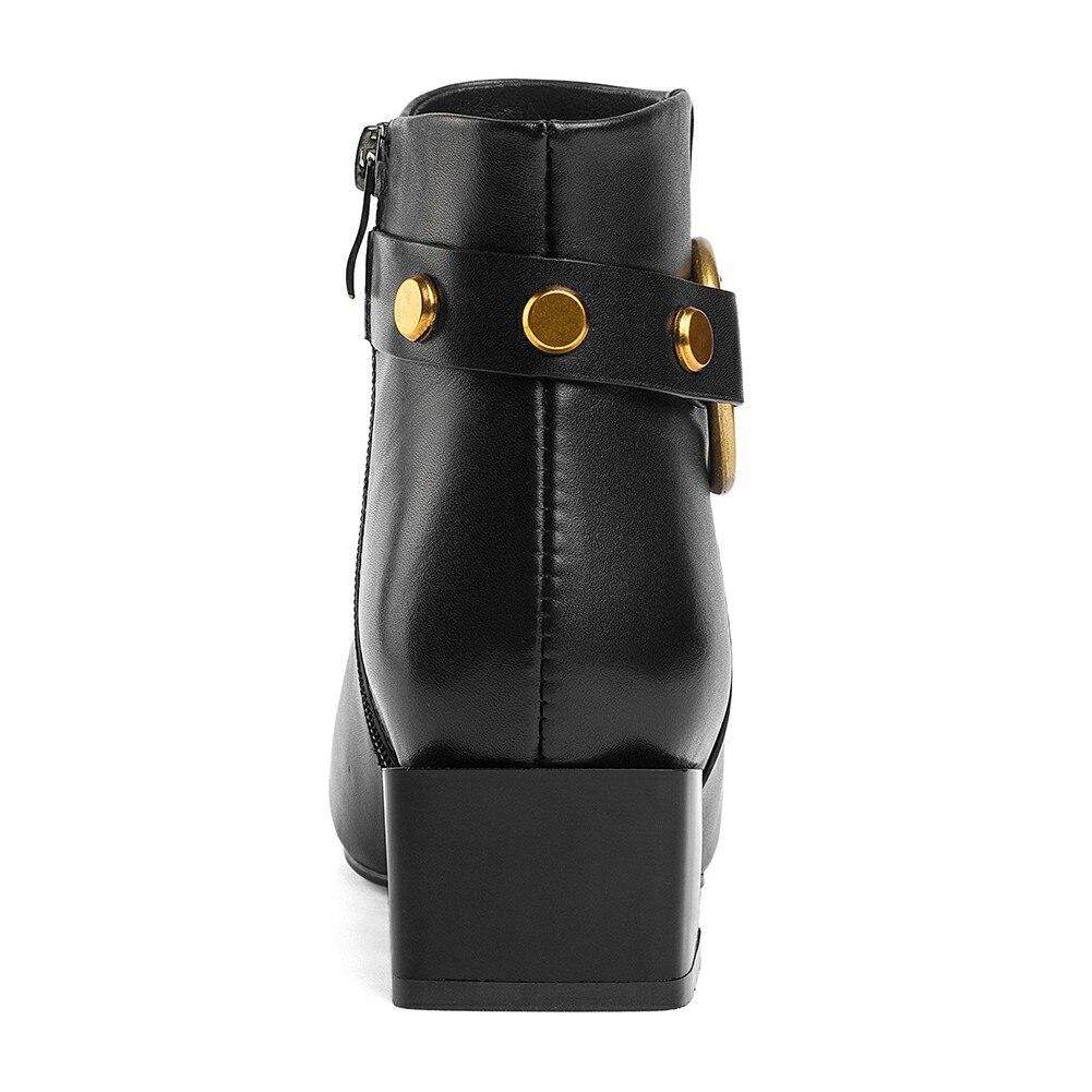 Ayakk.'ten Ayak Bileği Çizmeler'de DoraTasia Marka Yeni hakiki Inek Deri Kare Ayak Kış batı Çizmeler Ayakkabı Kadın Zip Up Eklemek Kürk yarım çizmeler Kadın Ayakkabı çizme'da  Grup 3