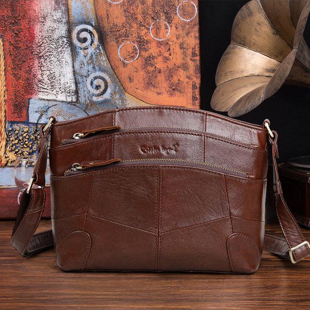 Cobbler Legend Multi Pockets Vintage Genuine Leather Bag Female Small Women Handbags Bags