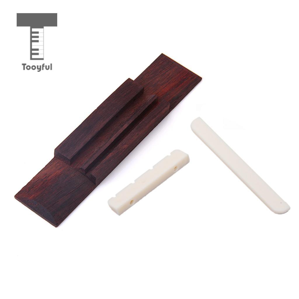 Tooyful Replaceable Ukulele Bridge Ivory ABS Nut And Saddle Slotted +110mm Rosewood Bridges for Professional Ukulele Accessory