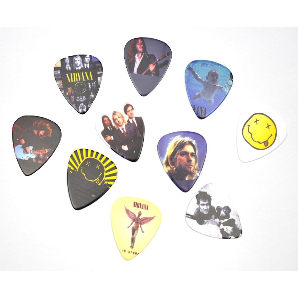 Lots of 10Pcs Rock Band Nirvana 2sides printing Guitar Picks PlectrumS Medium 0.71mm