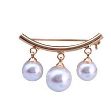 Beautiful Silver Brooch for Women with Simulated Pearls