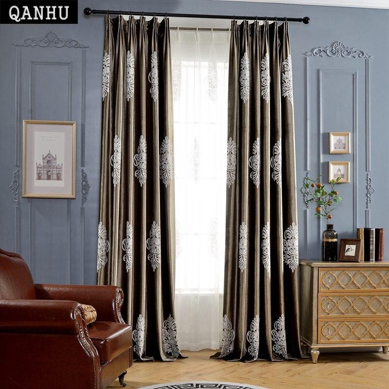 QANHU Childhood Memory Factory direct Customize Fluff Curtain Sapling Pattern Brand Baby room Landing Blackout Curtain Set A-27