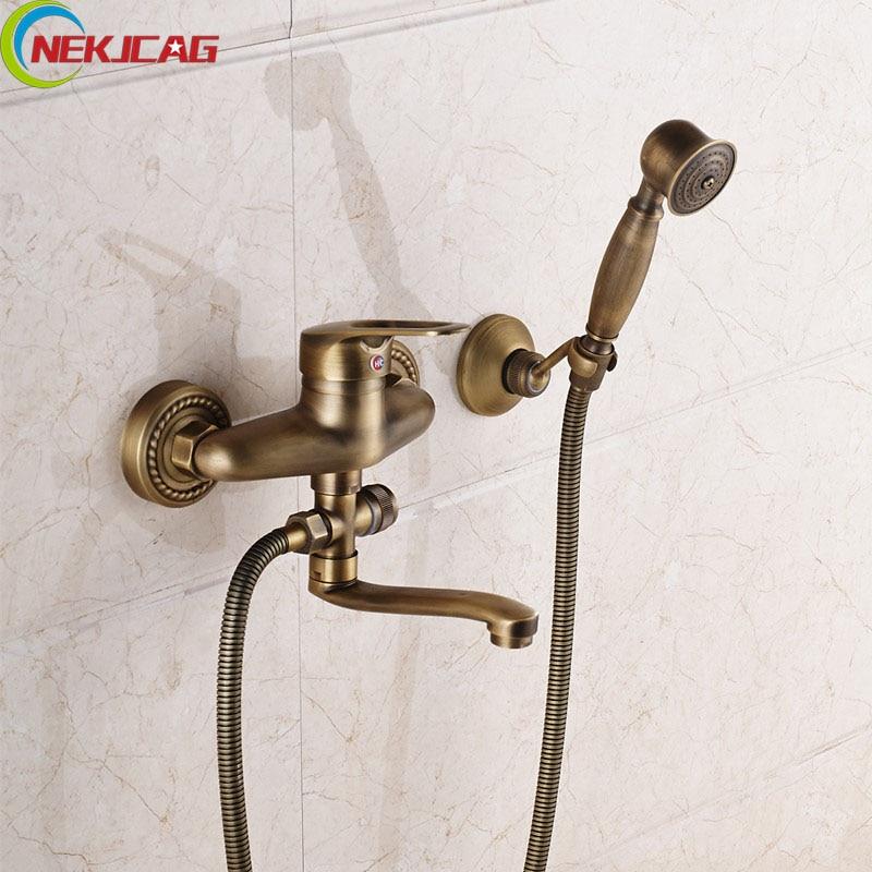 Wholesale And Retail Brass Shower Set Bathroom Hand Shower + Antique Brass Mixer Tap + 150cm Hose 0 5x200mm h62 brass strip brass sheet brass foil wholesale retail