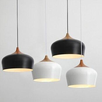 Modern pendant light Oak Wood lamp E27 socket wood lampholder Hanging light white black Optionally