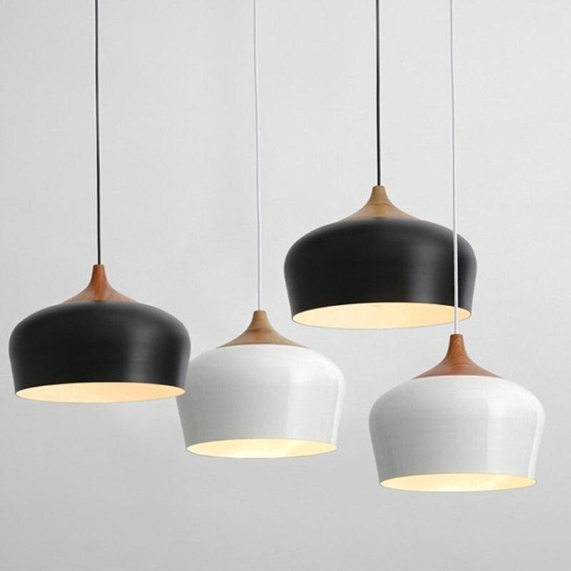 Suspension moderne en bois de chêne lampe E27 douille bois douille suspension blanc noir en option