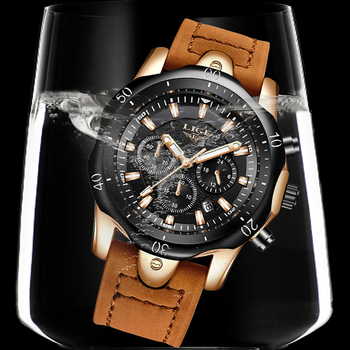 LIGE Men´s Luxury Casual Leather Military Waterproof Chronograph Sports Wrist Quartz Watches 5