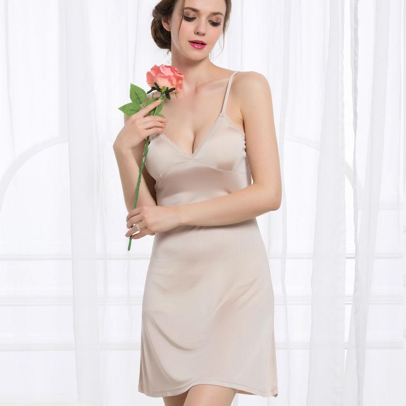 Women-Full-Slips-REAL-SILK-Sexy-slip-Solid-V-deep-neck-Anti-emptied-Padded-bra-slips
