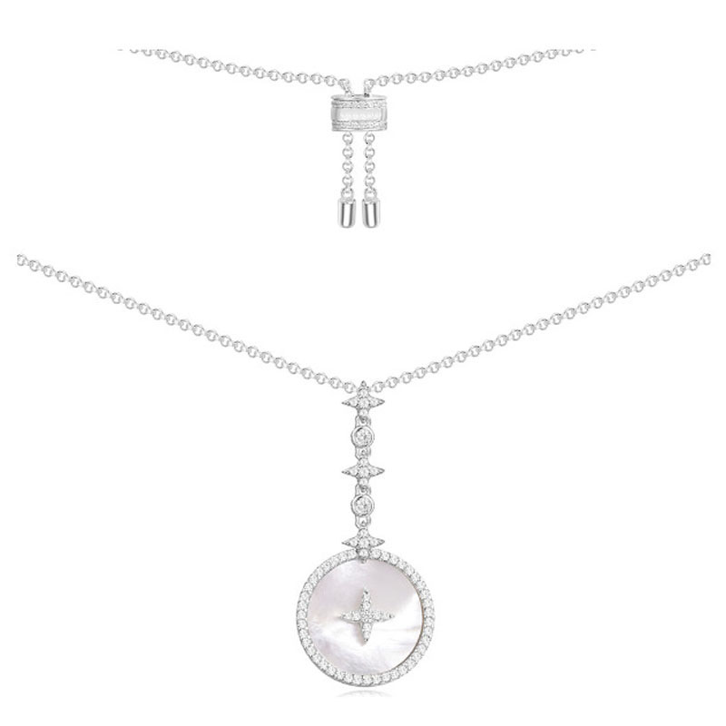 SLJELY 925 Sterling Silver Cubic Zirconia Star Art Round Badge Pendant Necklace with Mother of Pearl