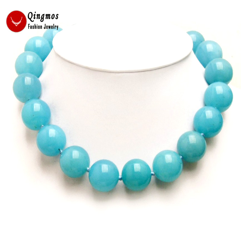 "Image 4 - Qingmos Trendy 18mm Sky Blue Round Natural Jades Stone Necklace for Women with Genuine Jades Chokers Necklace 17"" Jewelry ne6281-in Choker Necklaces from Jewelry & Accessories"