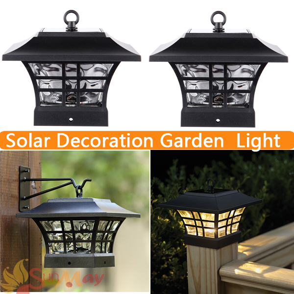 Solar Post Cap Lamp LED Solar Decoration Glass Housing Solar Lamp Garden LED Sconce Wall Light Outdoor for Emergency Waterproof newest style led solar wall light solar lamp outdoor solar garden decorative lamp