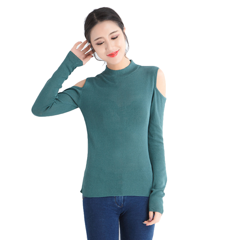 Autumn Winter Women Pullovers Sweater Knitted Elasticity Casual Jumper Fashion Slim Turtleneck Warm Female Off Shouder Sweaters