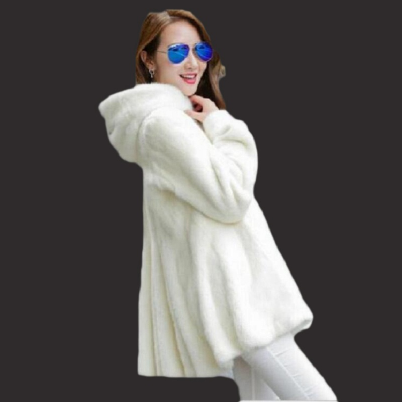 Winter Warm and Thick Woman Artificial Fur Coat Rabbit Hooded Long Mink Coat For Sale Black
